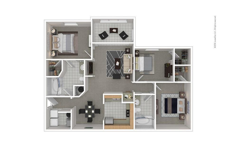 C3 3 bedroom 2 bath 1376 square feet