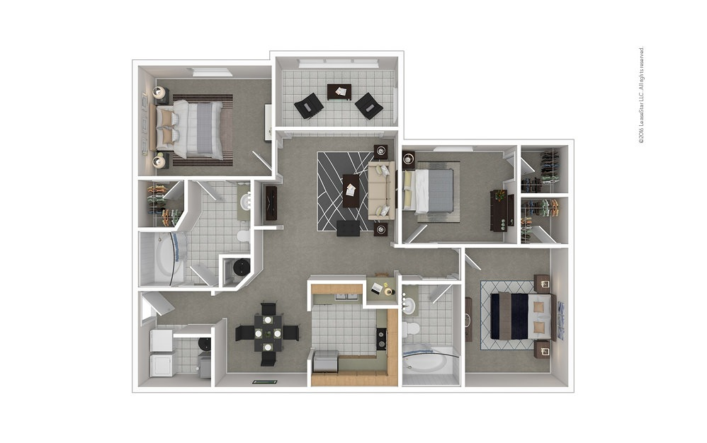 C4 3 bedroom 2 bath 1407 square feet