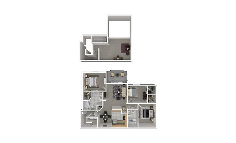 C5 3 bedroom 2 bath 1505 square feet