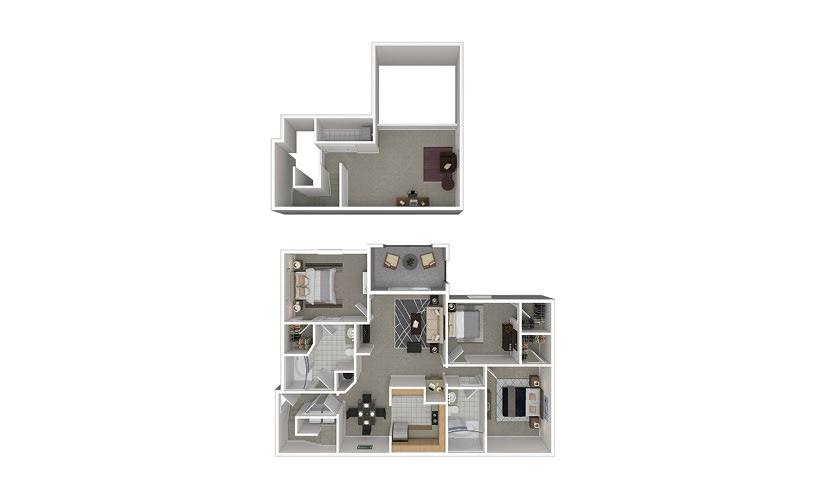 C6 3 bedroom 2 bath 1544 square feet