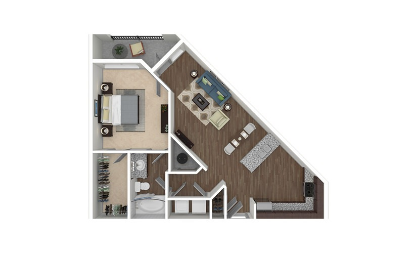 A2 1 bedroom 1 bath 815 square feet