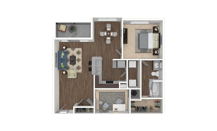 A3 1 bedroom 1 bath 983 square feet