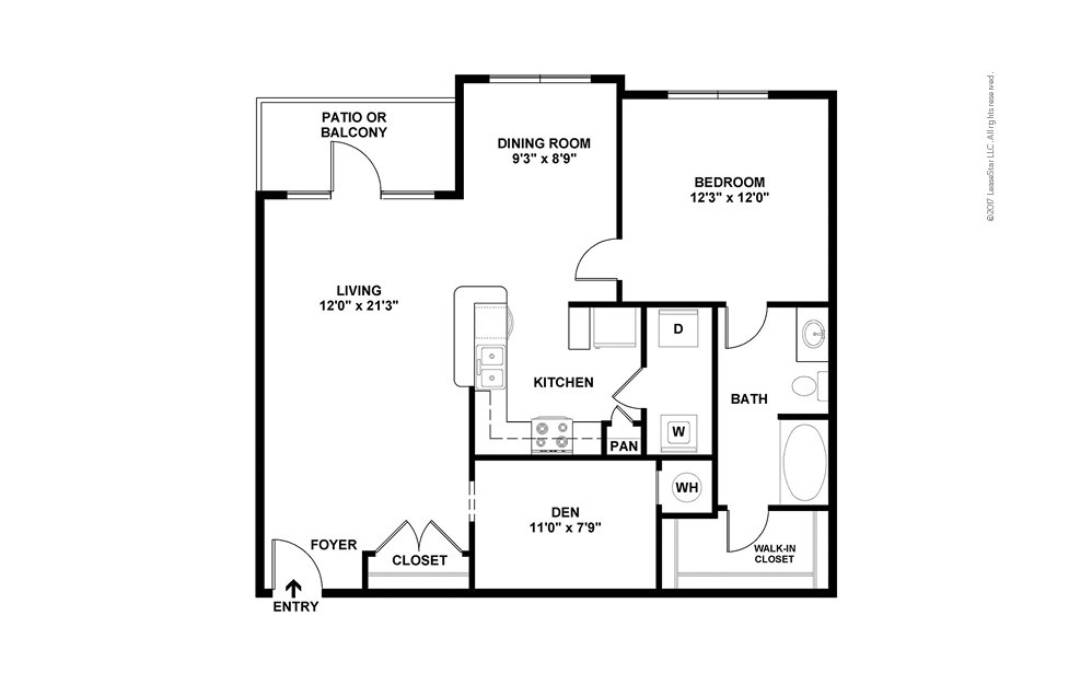 A3 1 bedroom 1 bath 983 square feet (2)