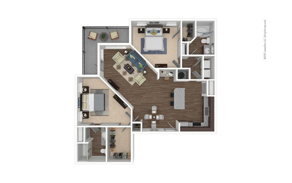 B2 2 bedroom 2 bath 1280 square feet