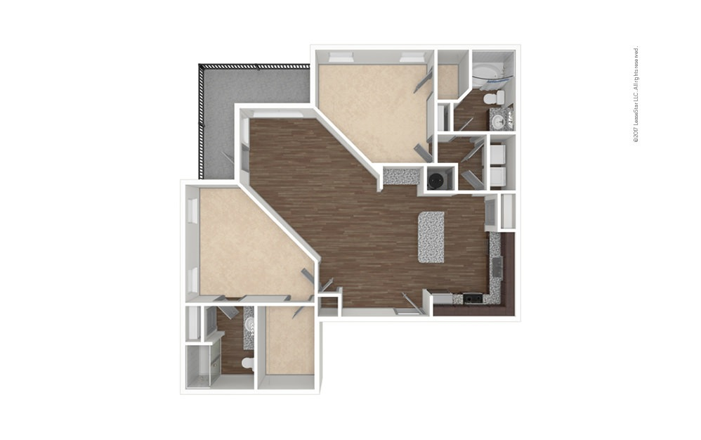 B2 2 bedroom 2 bath 1280 square feet (1)