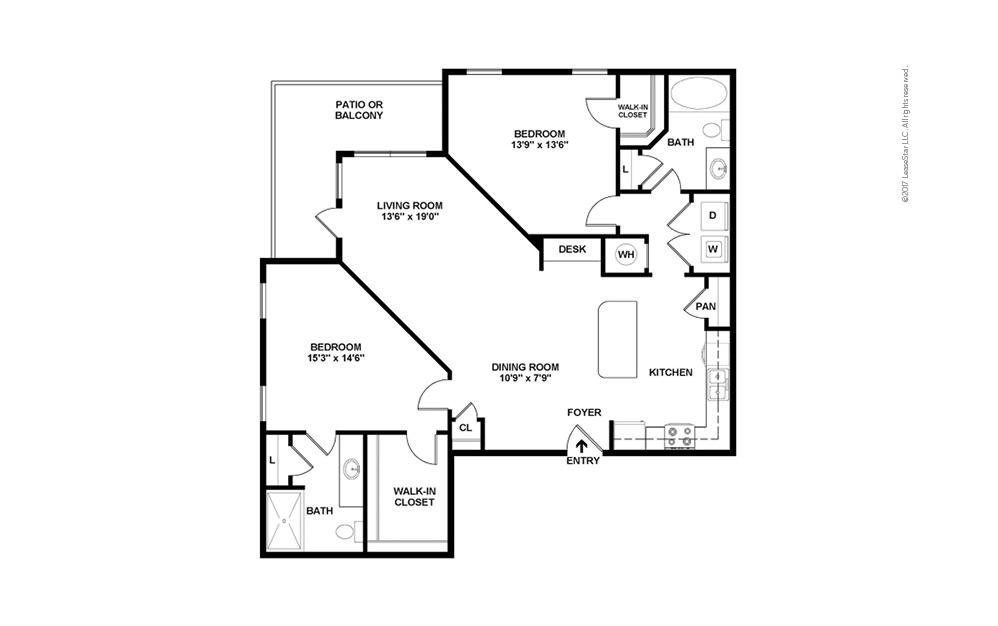 B2 2 bedroom 2 bath 1280 square feet (2)