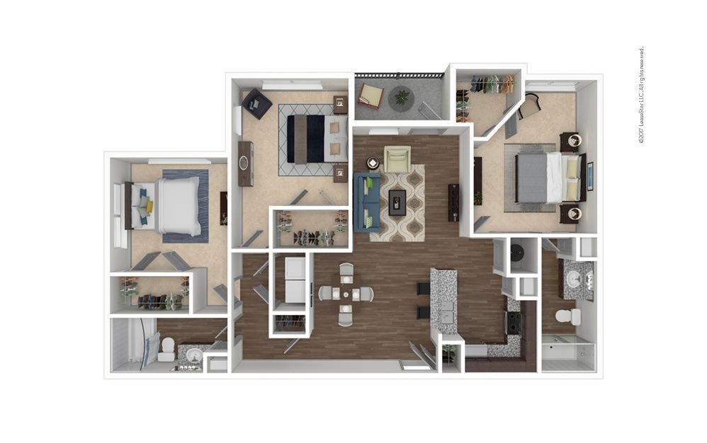 C1 3 bedroom 2 bath 1380 square feet