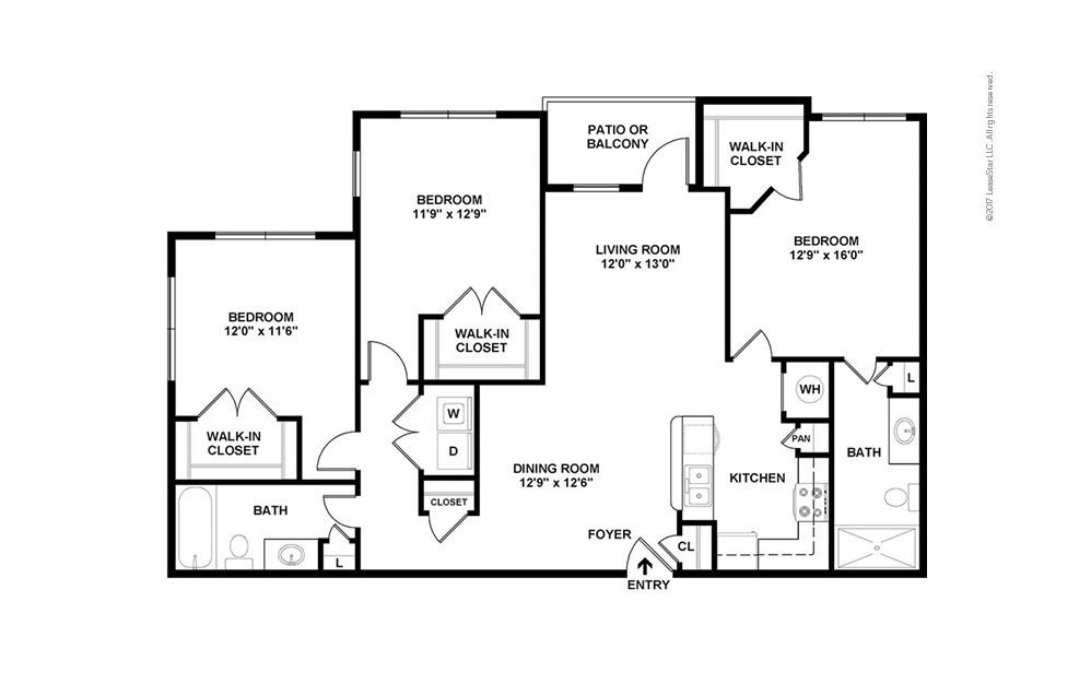 C1 3 bedroom 2 bath 1380 square feet (2)
