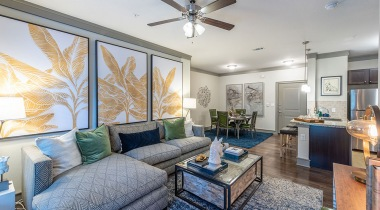 Luxury apartment living room at our Cortland apartments