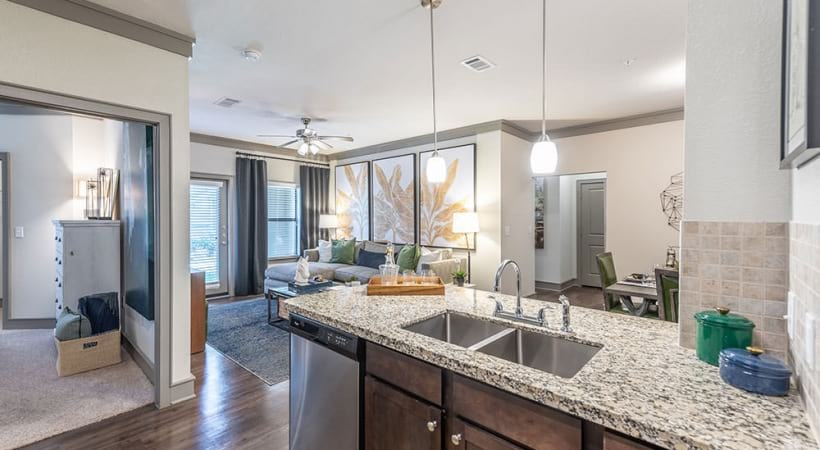 Luxury apartment kitchen with sleek granite countertops