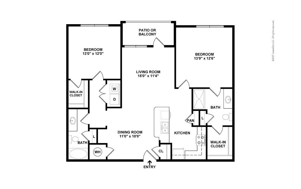 B1 2 bedroom 2 bath 1112 square feet (2)