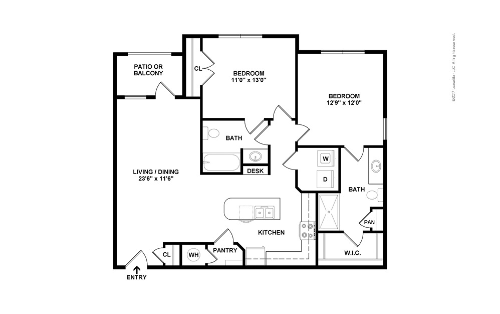 B2 2 bedroom 2 bath 1121 square feet (2)