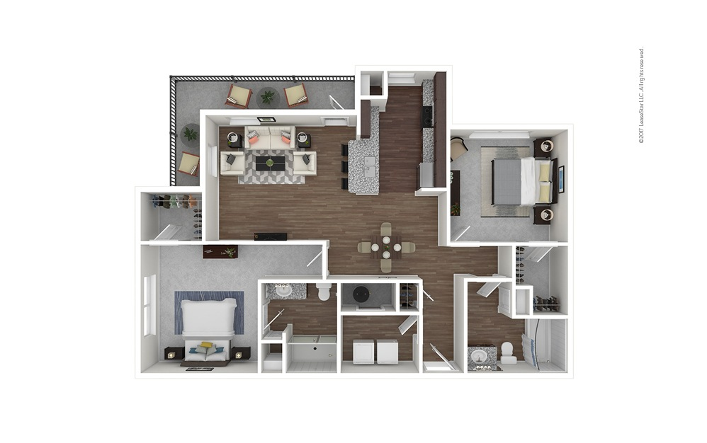 B4 2 bedroom 2 bath 1218 square feet