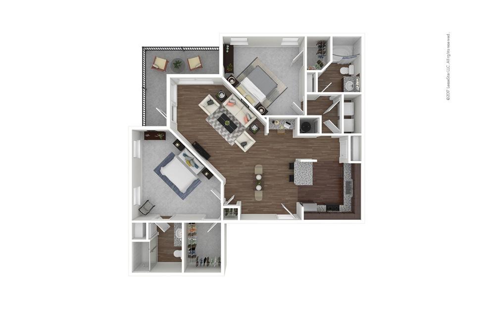 B5 2 bedroom 2 bath 1279 square feet