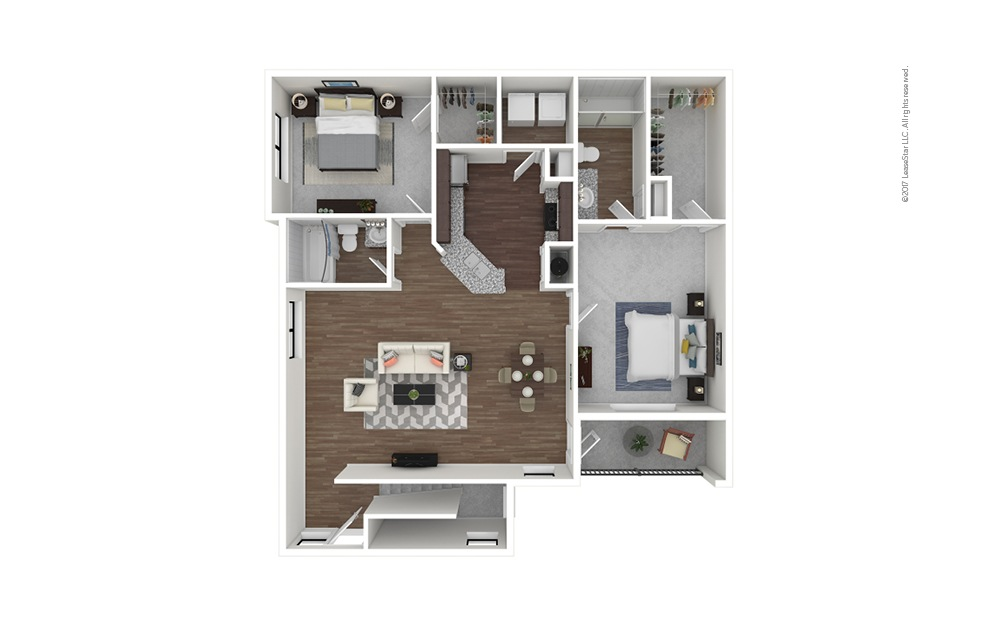 B6b 2 bedroom 2 bath 1282 square feet