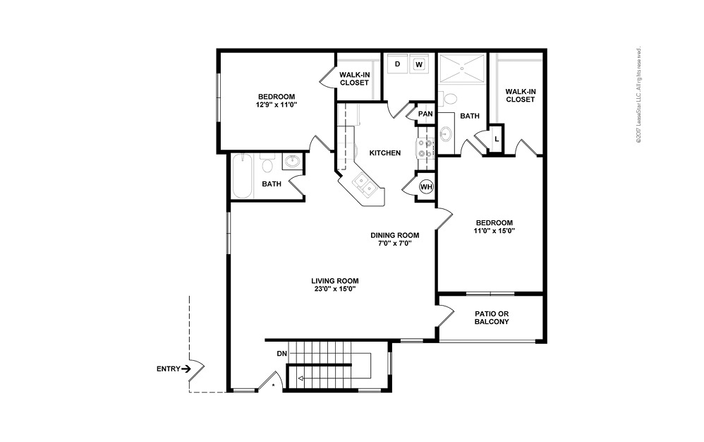 B6b 2 bedroom 2 bath 1282 square feet (2)
