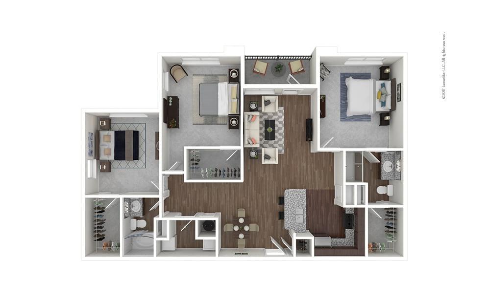C1 3 bedroom 2 bath 1368 square feet