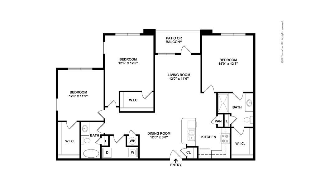 C1 3 bedroom 2 bath 1368 square feet (2)