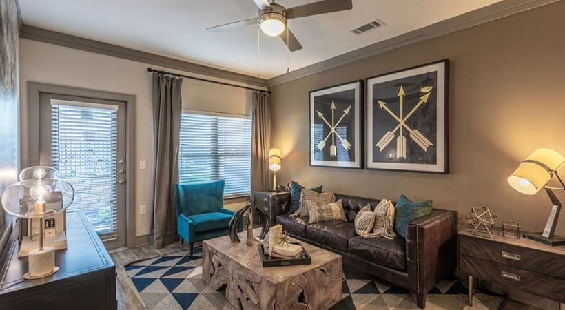 Luxury apartment living room at Cortland Preston North