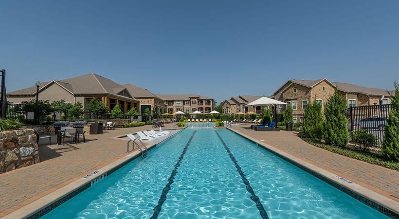 Saltwater pool at luxury apartments near Prosper, TX