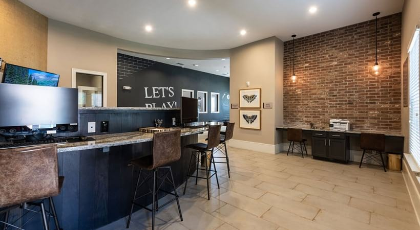 Resident business center at luxury apartments in Frisco, TX