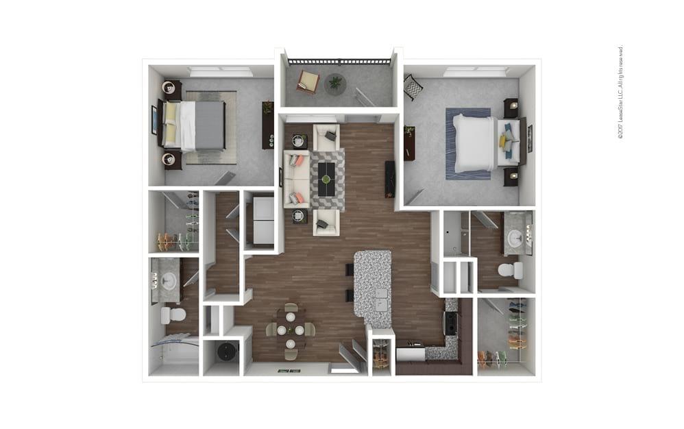 B1 2 bedroom 2 bath 1112 square feet