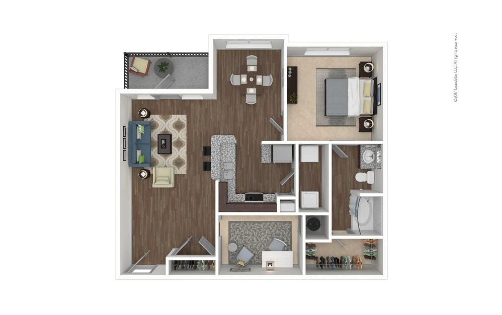 A3 1 bedroom 1 bath 984 square feet