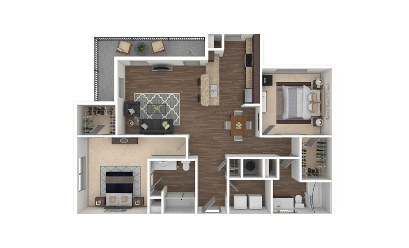 B2 2 bedroom 2 bath 1218 - 1406 square feet