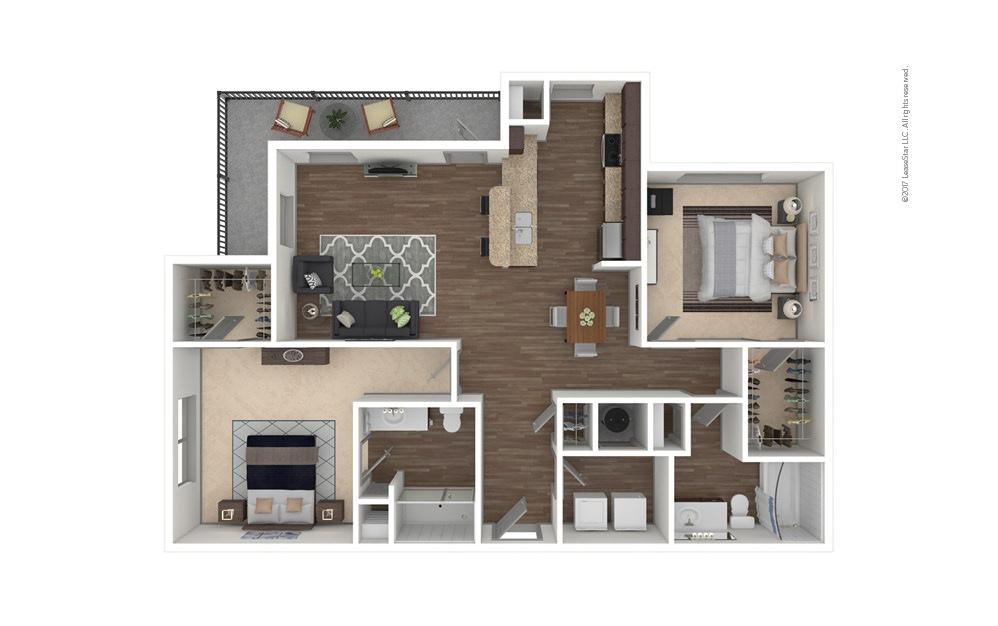 B2 2 bedroom 2 bath 1218 - 1406 square feet