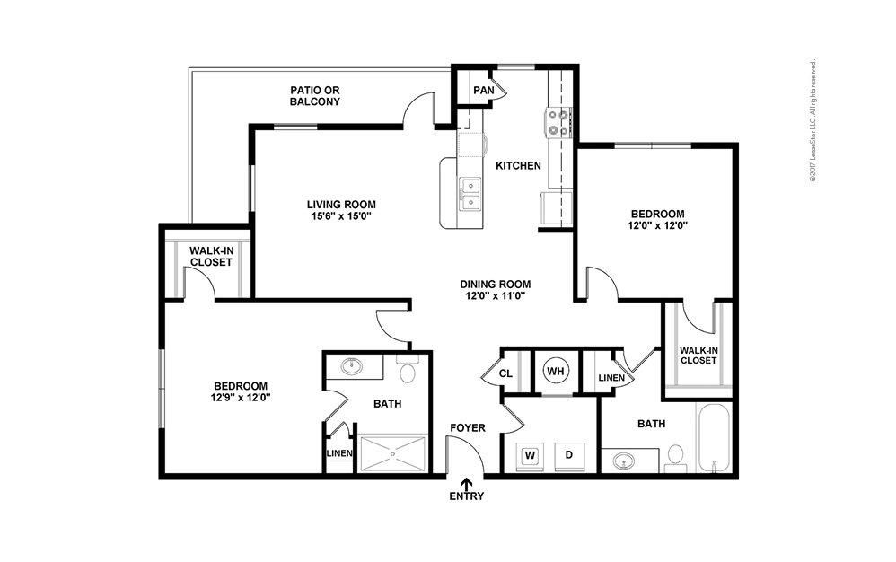 B2 2 bedroom 2 bath 1218 - 1406 square feet (2)