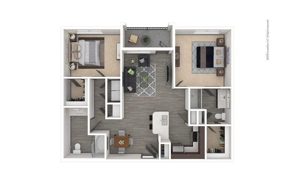 B6 2 bedroom 2 bath 1252 square feet