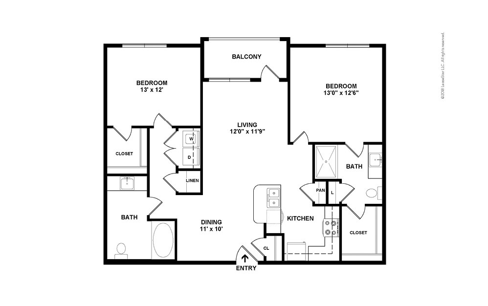 B6 2 bedroom 2 bath 1252 square feet (2)