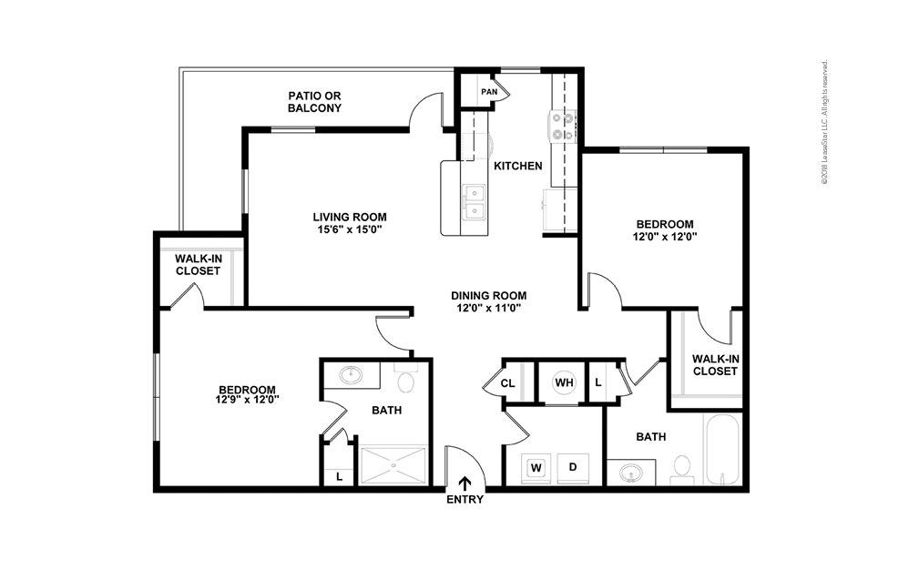 B2 2 bedroom 2 bath 1218 square feet (2)