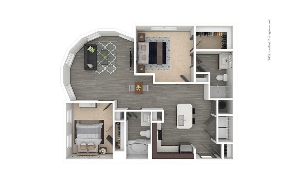 B4 2 bedroom 2 bath 1124 square feet