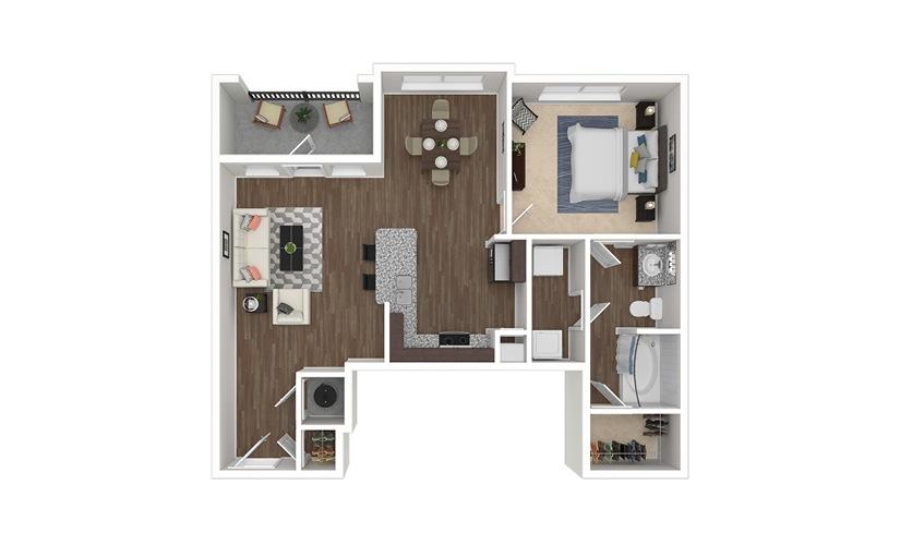 A3 1 bedroom 1 bath 828 square feet
