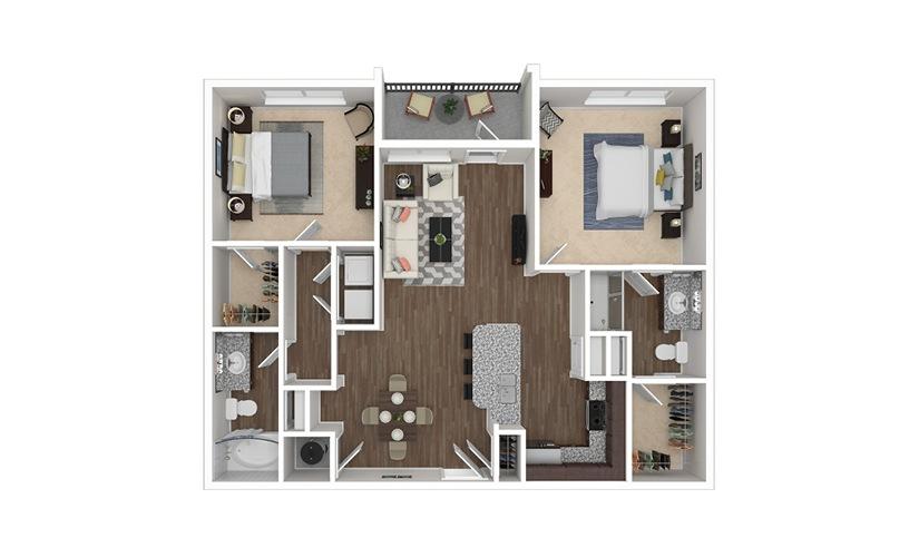 B1 2 bedroom 2 bath 1097 square feet