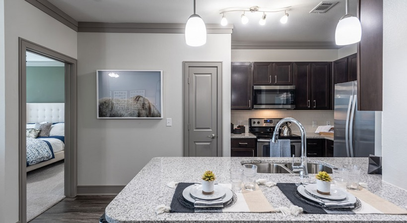Luxury apartment kitchen at Cortland Presidio East