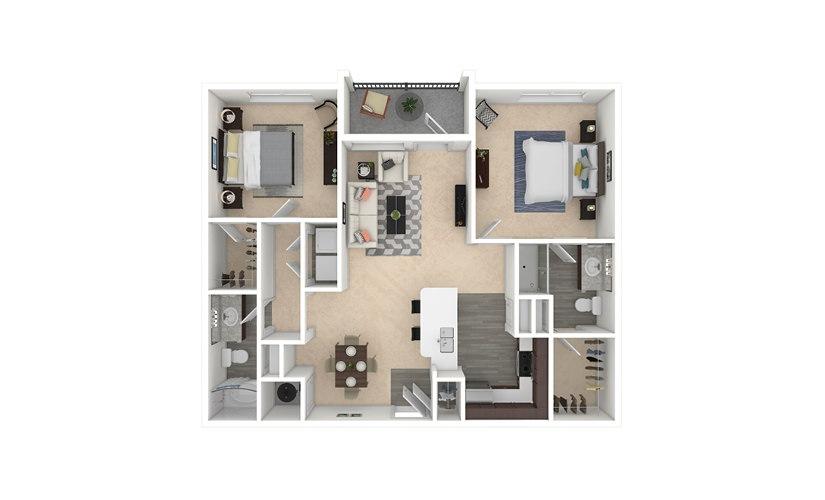 Tripel 2 bedroom 2 bath 1097 square feet