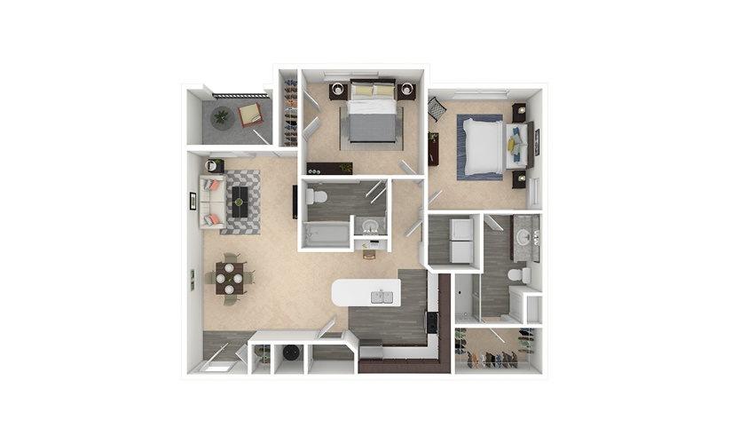 Barley 2 bedroom 2 bath 1121 square feet
