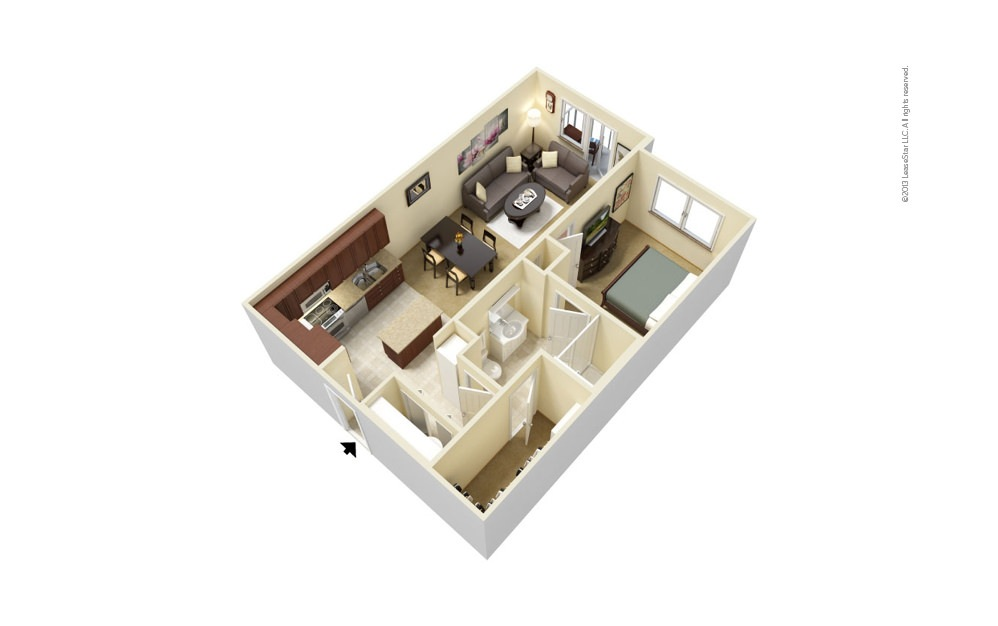 The Galleria 1 bedroom 1 bath 702 - 720 square feet