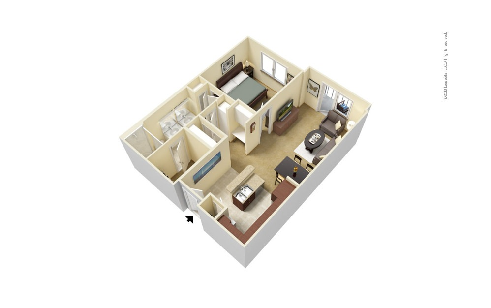 A3 1 bedroom 1 bath 735 - 753 square feet