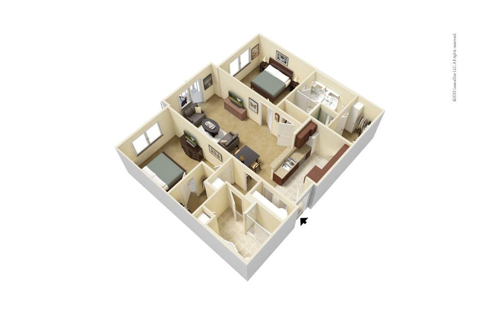 B1 2 bedroom 2 bath 1035 - 1053 square feet
