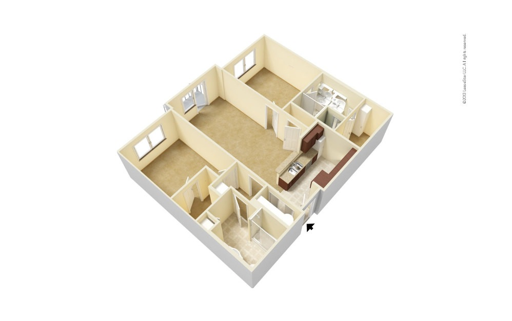 B1 2 bedroom 2 bath 1035 - 1053 square feet (1)