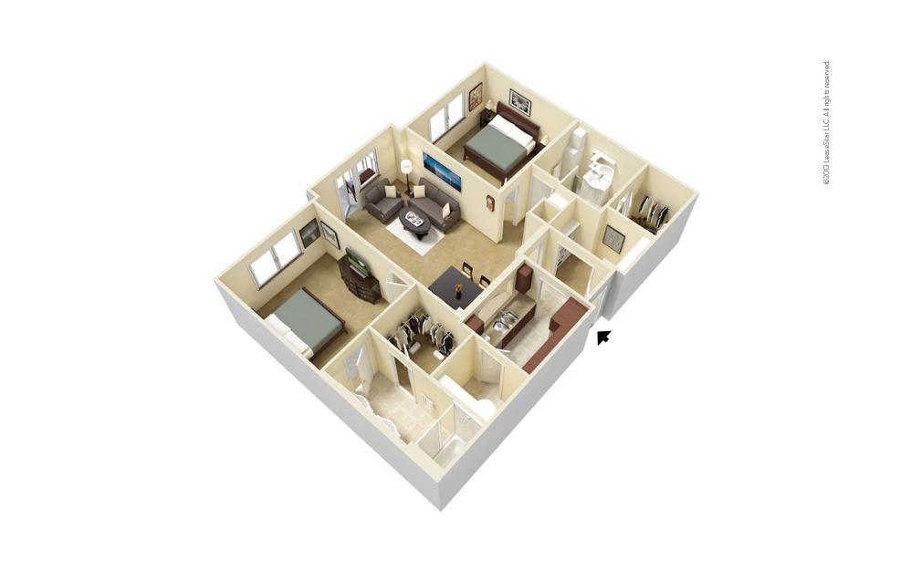 B2 2 bedroom 2 bath 1141 - 1159 square feet
