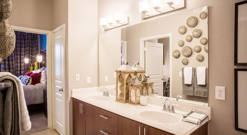Double sink vanities at 	apartments near Galleria Dallas