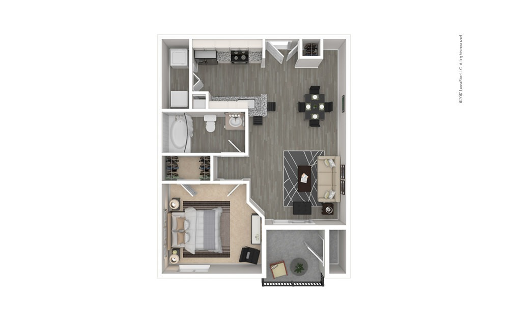 The Allen 1 bedroom 1 bath 565 square feet
