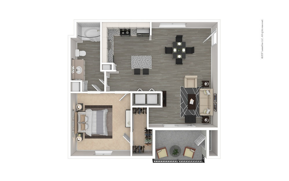 The Bryan 1 bedroom 1 bath 707 square feet