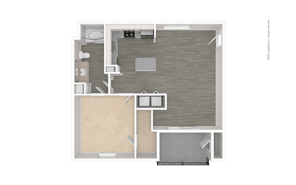 The Bryan 1 bedroom 1 bath 707 square feet (1)