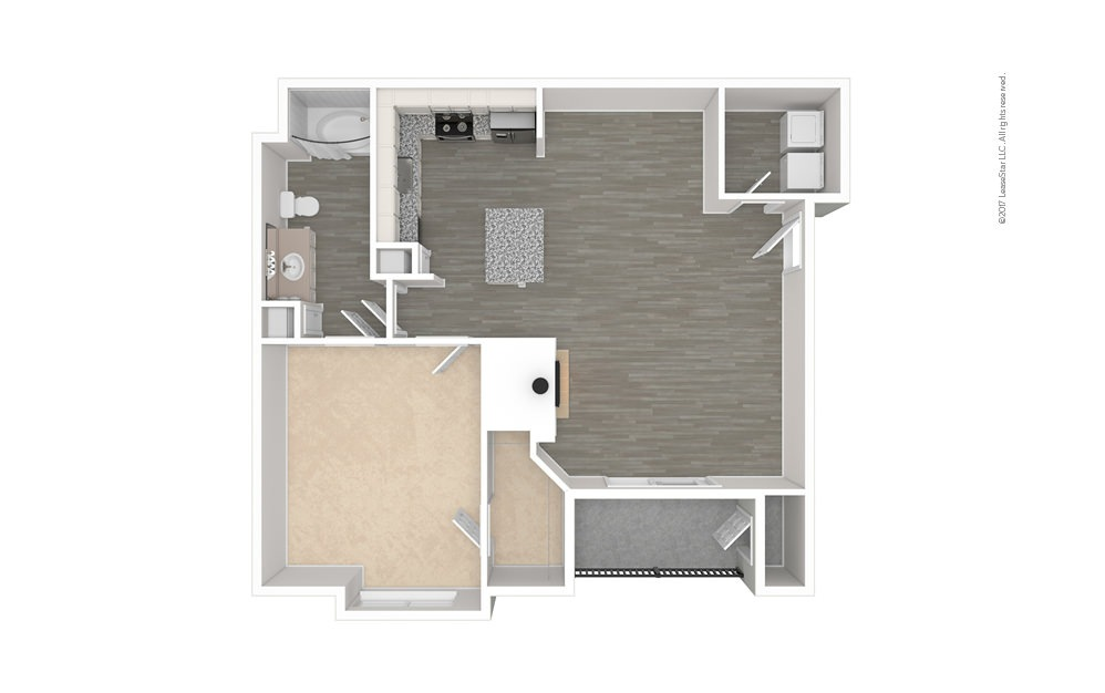 The Greenville 1 bedroom 1 bath 848 square feet (1)