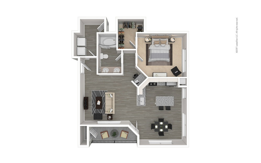 The Henderson 1 bedroom 1 bath 855 square feet